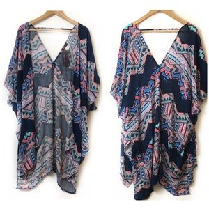 Krush Women's Boho Blouse Loose Shawl Kimono Sz M